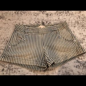 Diesel double breasted denim pinstriped shorts